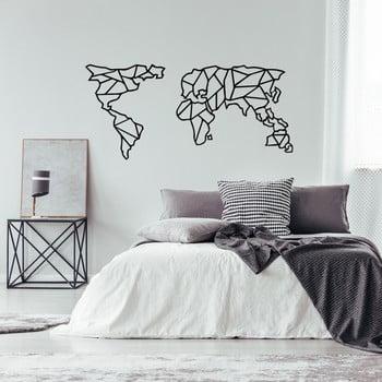 Decorațiune metalică de perete Geometric World Map, 120 x 58 cm, negru imagine