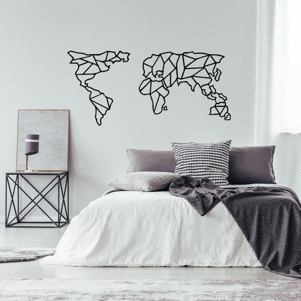 Decorațiune metalică de perete Geometric World Map, 120 x 58 cm, negru