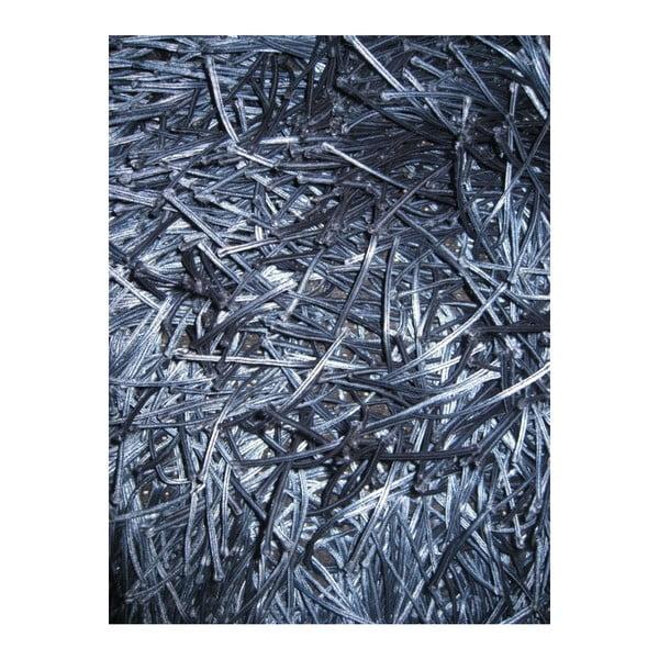 Tmavě modrý ručně tkaný vlněný koberec Dishy, 170x240cm