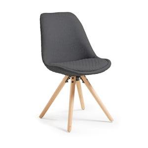 Tmavě šedé jídelní židle s dřevěným podnožím La Forma Lars