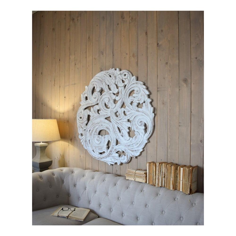 Bílá nástěnná dekorace z mangového dřeva Orchidea Milano Rosone Antique, ø 100 cm