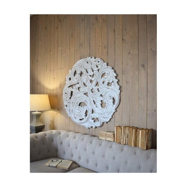 Decorațiune de perete din lemn de mango Orchidea Milano Rosone Antique, ø 100 cm, alb