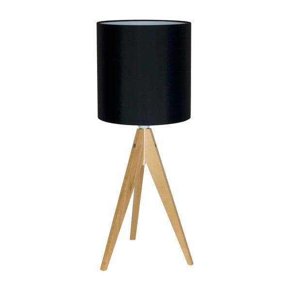 Černá stolní lampa 4room Artist, bříza, Ø 25 cm