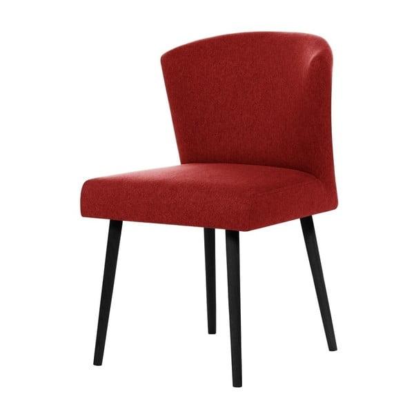 Červená jedálenská stolička s čiernymi nohami Rodier Richter