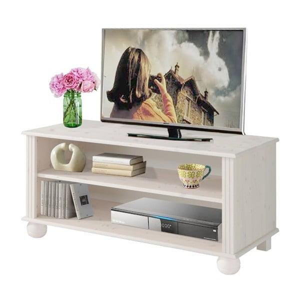Bílý TV stolek z masivního borovicového dřeva Støraa Ella