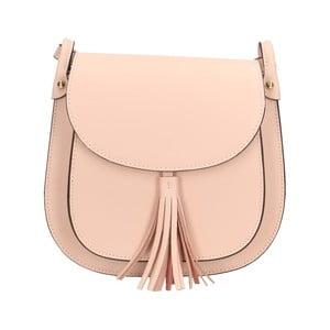Pudrově růžová kožená kabelka Roberto Buono Kara