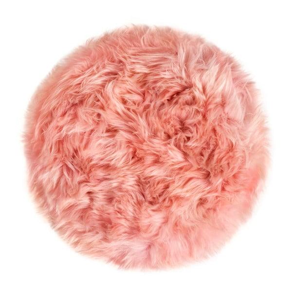 Rózsaszín báránybőr ülőpárna, Ø 35 cm - Royal Dream