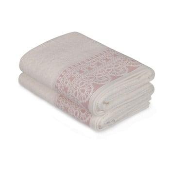 Set 2 prosoape mâini cu detalii roz Romantica, 90x50cm, alb de la Soft Kiss