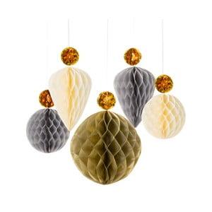 Papírové dekorace Honeycomb Metallic, 5 ks