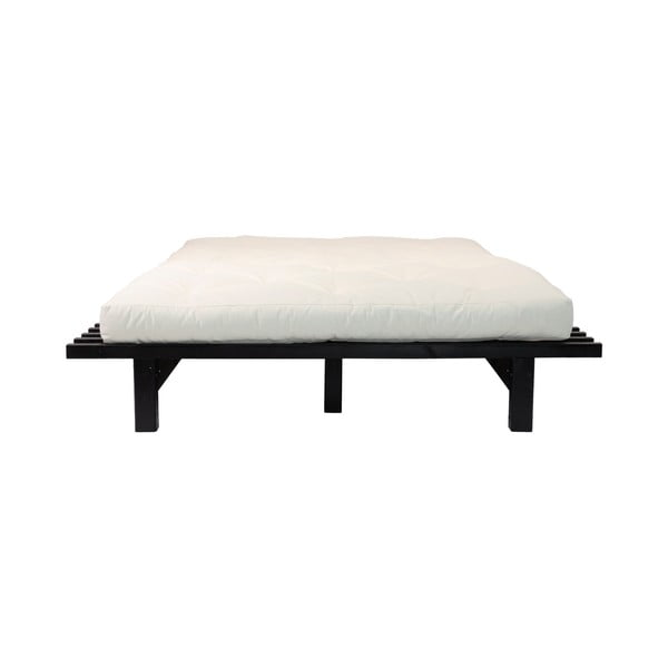 Pat dublu din lemn de pin cu saltea Karup Design Blues Comfort Mat Black/Natural, 180 x 200 cm