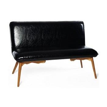Canapea cu 2 locuri din piele sintetică Simla Dungeon, negru