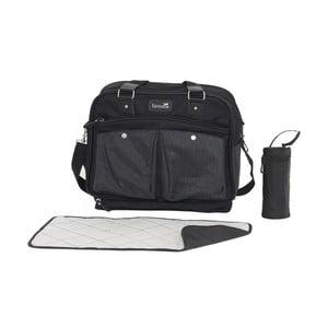 Černá mateřská taška s přebalovací podložkou a vakem na láhev Tanuki