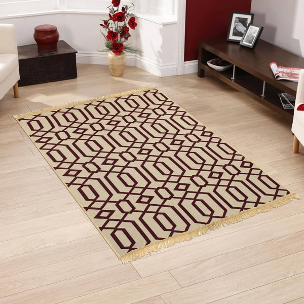 Červenobéžový koberec Ya Rugs Kenar, 60x90cm