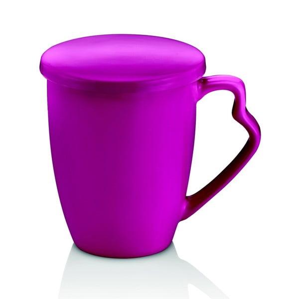 Švestkově fialový porcelánový hrnek s víkem Efrasia
