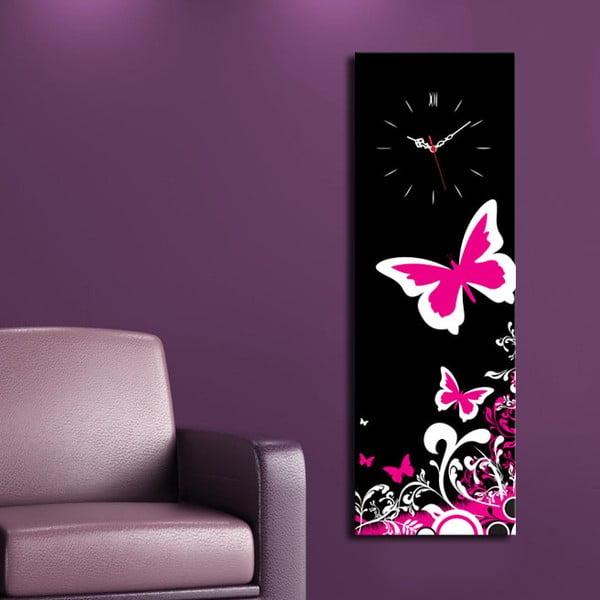 Obrazové hodiny Růžový motýl