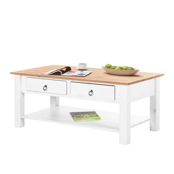 Biely konferenčný stolík z borovicového dreva s prírodnou doskou Støraa Inga