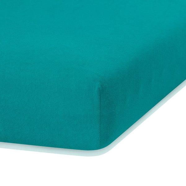 Tmavě zelené elastické prostěradlo s vysokým podílem bavlny AmeliaHome Ruby, 200 x 160-180 cm