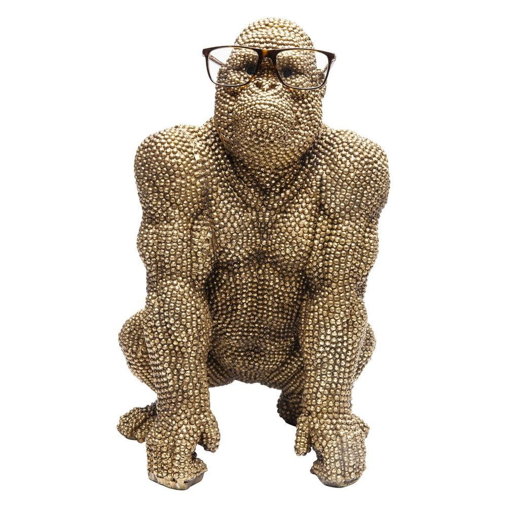 Dekorativní socha ve zlaté barvě Kare Design Gorilla, výška46 cm