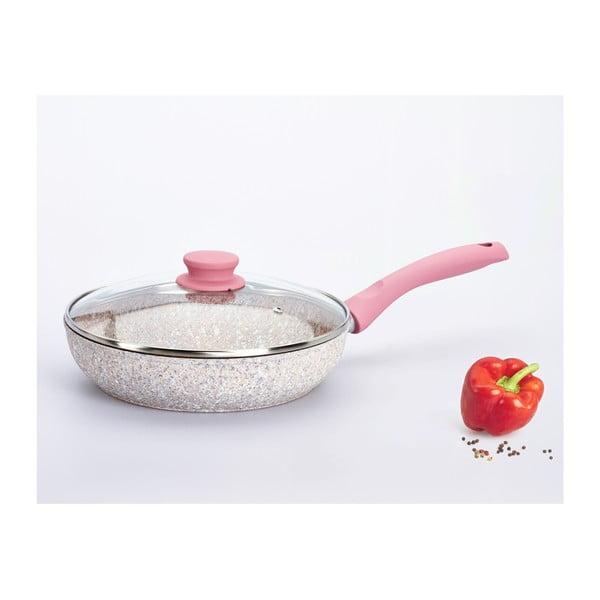 Pánev Stonerose s pokličkou a růžovou rukojetí, 24 cm/2.36 l