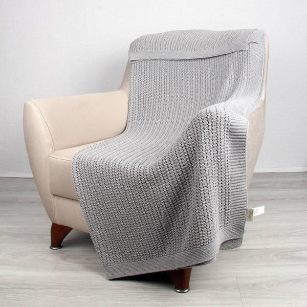 Světle šedá bavlněná deka Clen