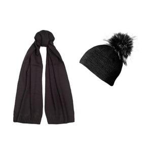 Černá čepice a šála Lavaii Jay