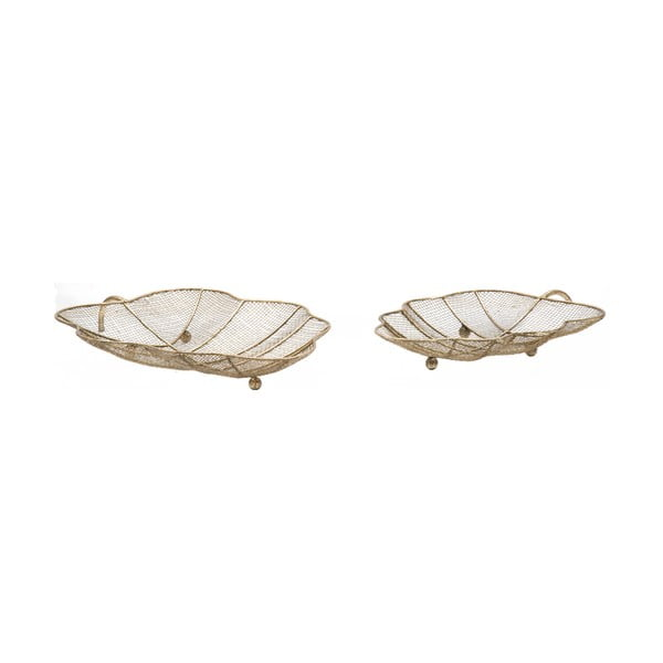 Set 2 boluri decorative Mauro Ferretti Leaf, auriu