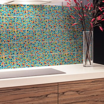 Set 24 autocolante de perete Ambiance Cement Terrazzo Wendy, 10 x 10 cm de la Ambiance