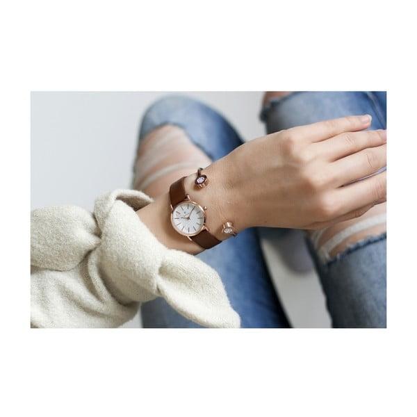 Dámské hodinky s hnědým koženým řemínkem Paul McNeal Soa, ⌀ 2,8 cm