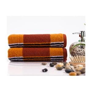 Sada 2 ručníků Stripe Orange, 45x90 cm