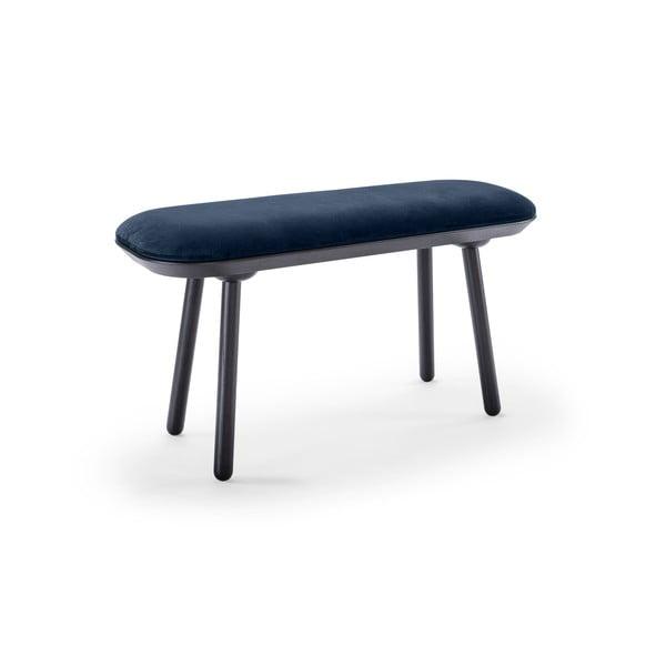Modro-čierna zamatová lavica EMKO Naïve, 100 cm