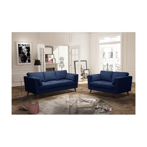 Sada námořnicky modré dvoumístné a trojmístné pohovky Jalouse Maison Elisa