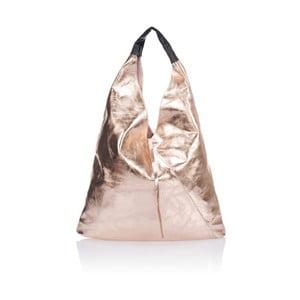 Růžová kožená kabelka Massimo Castelli Trio