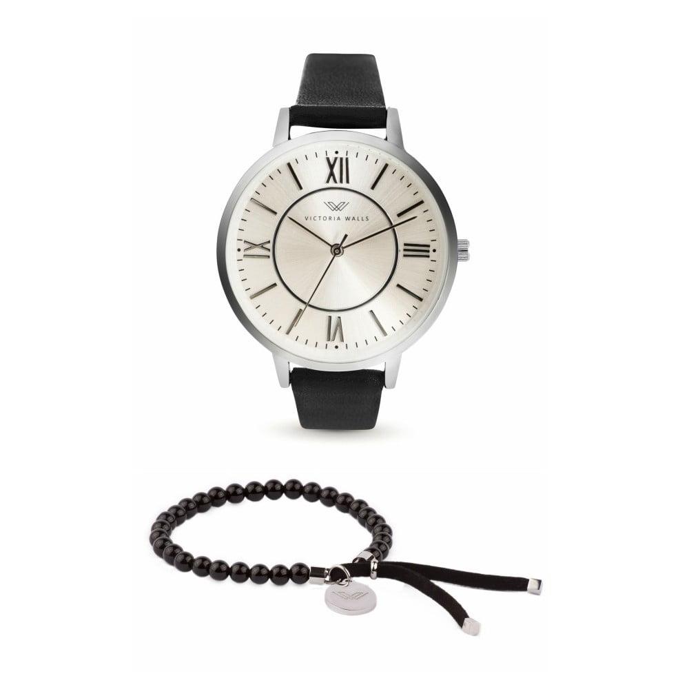 Set dámských hodinek s černým koženým řemínkem a náramku Victoria Walls Classy