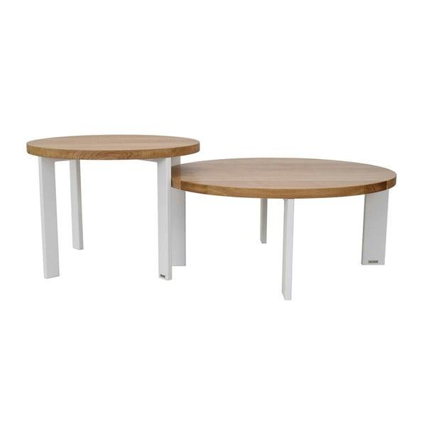 Sada 2 konferenčních stolků s deskou z dubového dřeva take me HOME Kaskada