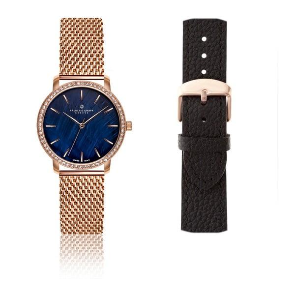 Dámske antikoro hodinky v ružovozlatej farbe s výmenným remienkom z pravej kože Frederic Graff Karmia