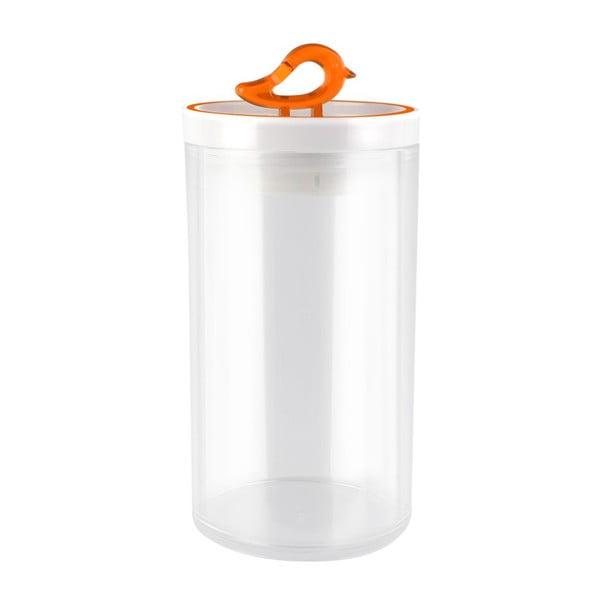 Przezroczysty pojemnik z pomarańczowym detalem Vialli Design Livio, 1,2 l