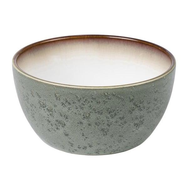 Zelenošedá kameninová miska s vnitřní glazurou v krémově bílé barvě Bitz Mensa, průměr 14 cm