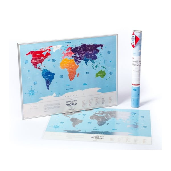 Stírací mapa světa Travel Map of the World Silver, 80x60 cm