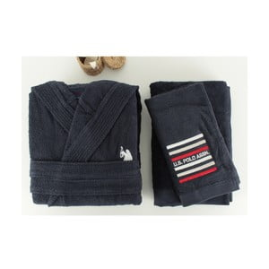 Tmavě modrá sada pánského županu a 2 ručníků U.S. Polo Assn. Lutsen, vel. M