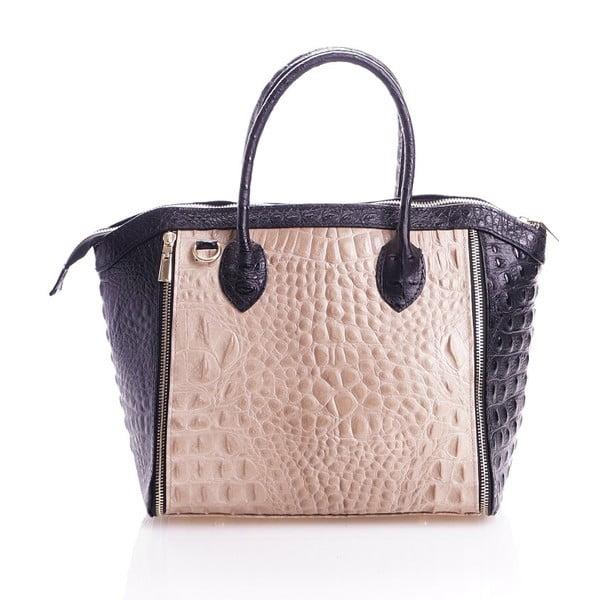 Kožená kabelka Marina, béžová/černá