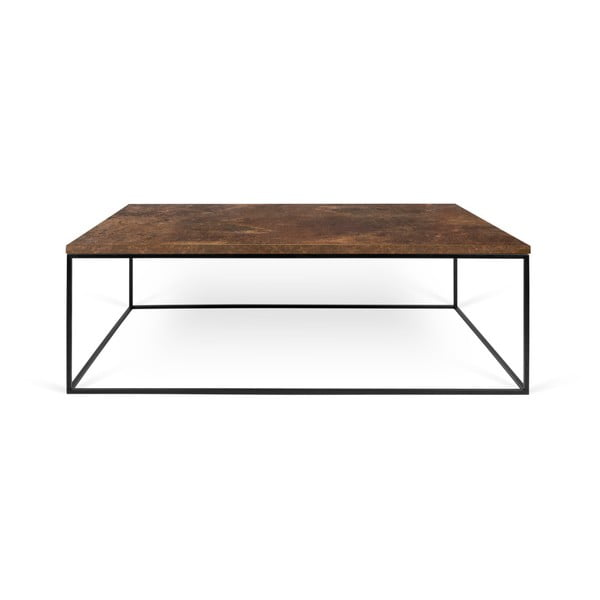 Brązowy stolik z czarnymi nogami TemaHome Gleam, 75x120 cm