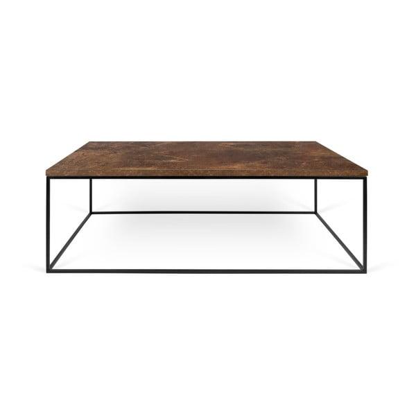Hnědý konferenční stolek s černými nohami TemaHome Gleam, 75 x 120 cm