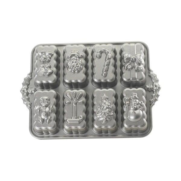 Formă pentru 8 biscuiți Nordic Ware Christmas, 1,4 l, argintiu