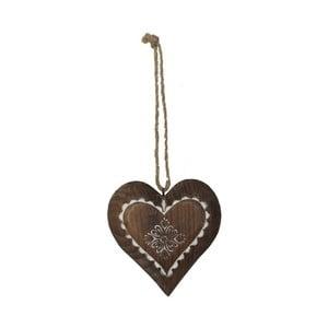Dřevěná závěsná dekorace ve tvaru srdce Antic Line Jane
