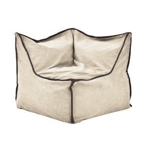 Béžový rohový modulový sedací vak s antracitovým lemem Poufomania Funky