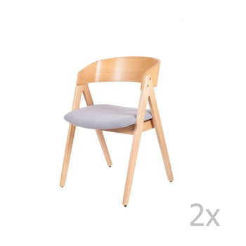 Set 2 scaune din lemn de cauciuc cu șezut gri sømcasa Rina de la sømcasa