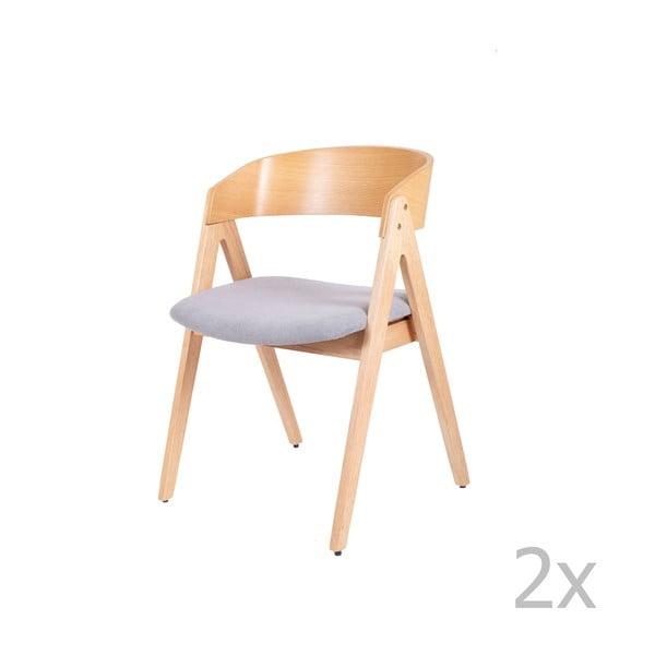 Sada 2 jídelních židlí z kaučukovníkového dřeva s šedým podsedákem sømcasa Rina