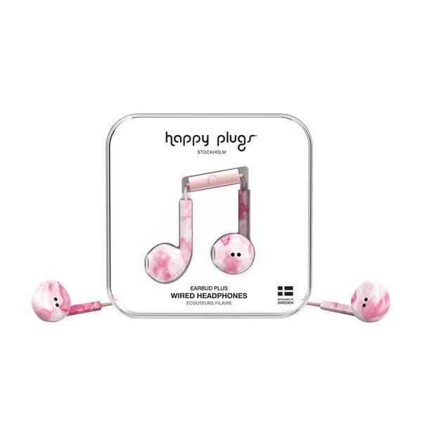 Růžová sluchátka s potiskem Happy Plugs Earbud