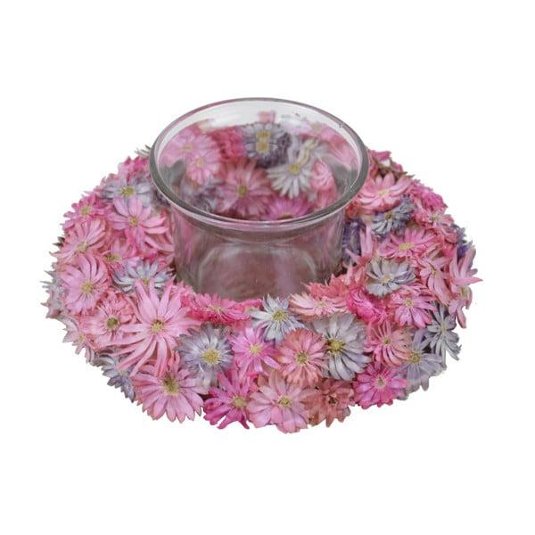 Gyertyatartó virágkoszorúval, ⌀ 12 cm - Ego Dekor
