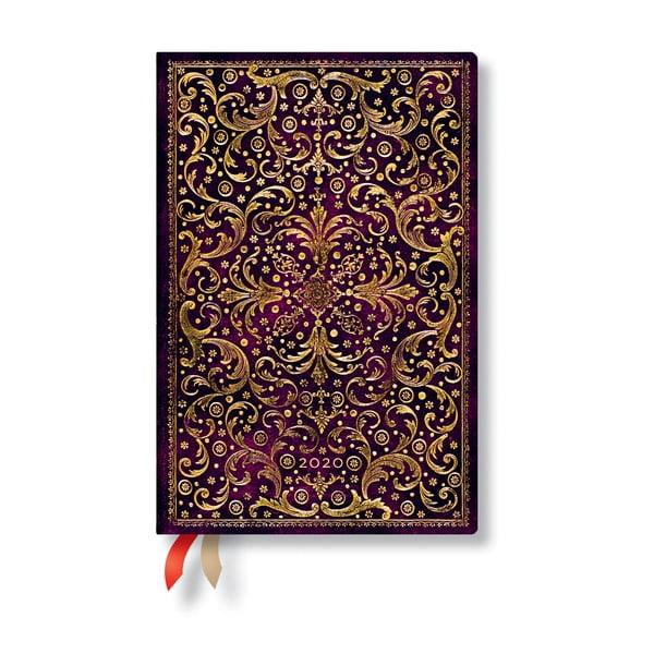 Agendă pentru anul 2020, cu copertă tare Paperblanks Aurelia, 160 file, vișiniu